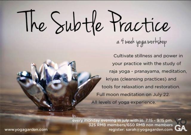 Yoga Garden-Subtle Practice flyer