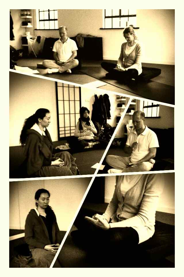 group meditation collage-sepia