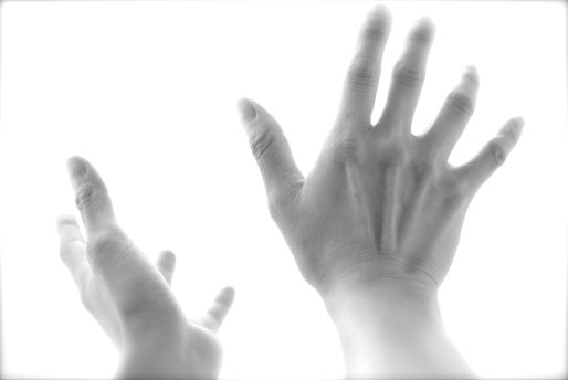hands in sky-b&w